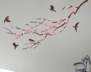 Stencil for Walls Sakura and Birds - Reusable stencils better than Wall Decals