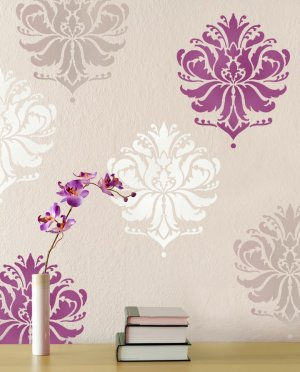 Damask Stencil Gabis Brocade MED, Stencil for walls, furniture, fabric