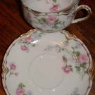 Haviland France Cup and Saucer Pink Flowers Gold Trim