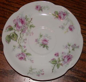 Haviland France Pink Flowers Saucers