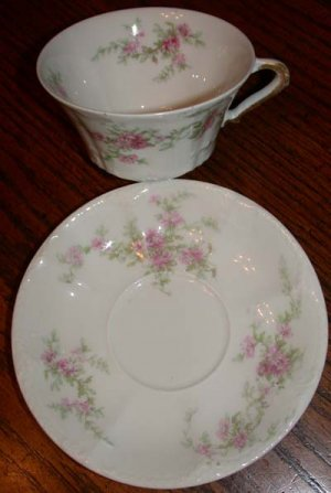 Theodore Haviland France Pink Flower Cup and Saucer