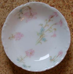 H & C France Butter Pat Pink and Blue Flowers