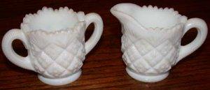 Miniature  Milk Glass Sugar and Creamer