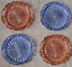 Czech Cut Glass Coasters Blue, Pink