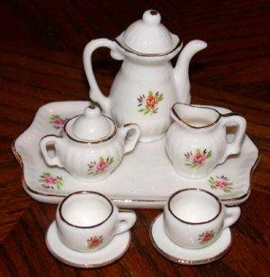 Miniature Tea Set Bone China Rose Design