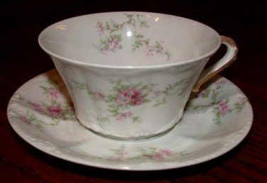 Haviland Cup and Saucer White w/Pink Flowers