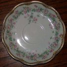 Haviland Saucer Pink Flowers Green Foliage Scalloped Edge Gold Trim