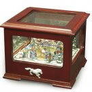 Crosley Carousel music box Novelty Holiday style box Glass top lid