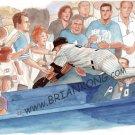 Derek Jeter : The Dive Original Art