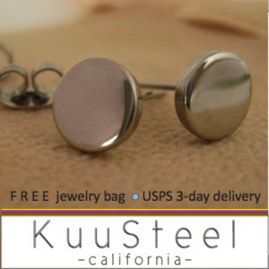 Silver Stud Earrings for Men-Looks Like Plug Earrings-Stainless Steel - 7mm Disc Design (#420)