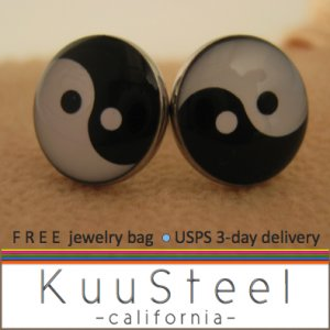 Mens Earrings Black & White Stud Earrings � Steel Silver for guys- YinYang (#504)