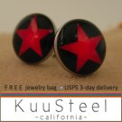 Mens Earrings Black & Red Stud Earrings – Steel Silver for guys- Star (#503)
