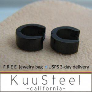 Mens Earrings Extra Small Hoop Black Huggie Steel For Men Ec112