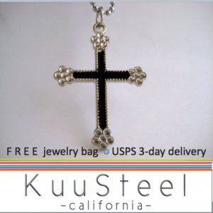 Mens Necklace Silver Chain � Cross Pendant Necklace Jewelry for men -Black Gothic Cross  (no.609)