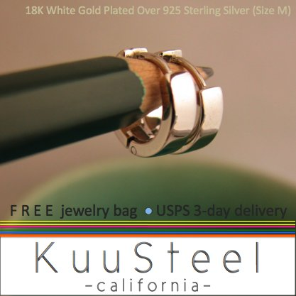 Sterling Silver Hoop Earrings-18K White Gold Plated-Mens Earrings Hoop-Medium (#E150SW)