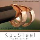 Sterling Silver Hoop Earrings-Rough Matte Silver-Mens Earrings Hoop-Medium (#E150MN)