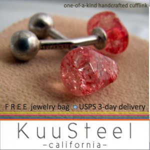 60% OFF - Sterling Silver Jewelry Red Cufflinks � For Men Women Groomsmen (#736C)