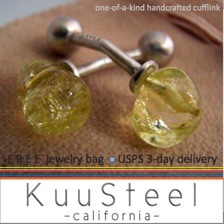 Sterling Silver Jewelry Yellow Cufflinks � For Men Women Groomsmen (#736B)