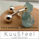 Sterling Silver Jewelry 6ct Aquamarine Blue Cufflinks – For Men Women Groomsmen (#730BA)