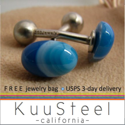 60% OFF - Sterling Silver Jewelry Blue Cufflinks � For Men Women Groomsmen (#737A)