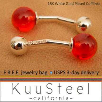 Men's cufflinks, red glass sphere cufflinks, sterling silver cufflinks, 735A