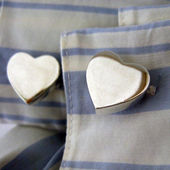 Sterling silver heart shaped cufflinks, 730B