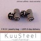 Celtic Silk Knot Cufflinks Black & White – For Men Women Groomsmen (#721D)