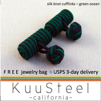 Celtic Silk Knot Cufflinks Blue & Green � For Men Women Groomsmen (#721D)