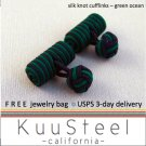 Celtic Silk Knot Cufflinks Blue & Green – For Men Women Groomsmen (#721D)