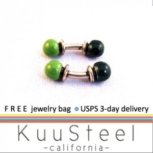 Green barbell cufflinks, 722B