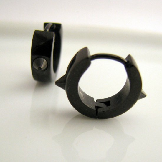 Black mens earrings with spikes, stainless steel earrings for guys, unique earrings for men, EC152