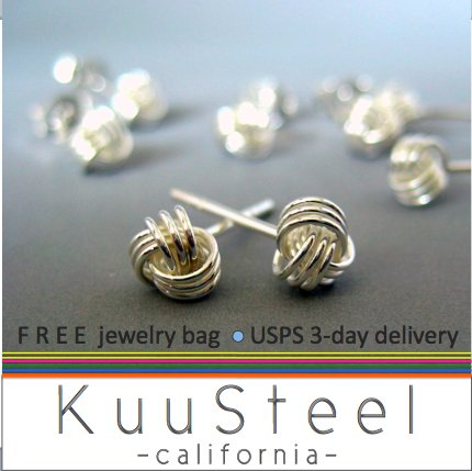 Celtic knot stud earrings for men, sterling silver post earrings, EC461