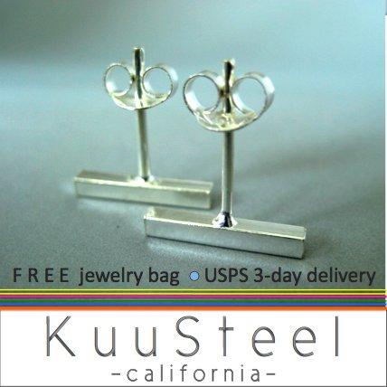 Bar stud earrings for men, sterling silver bar stud earrings, EC464
