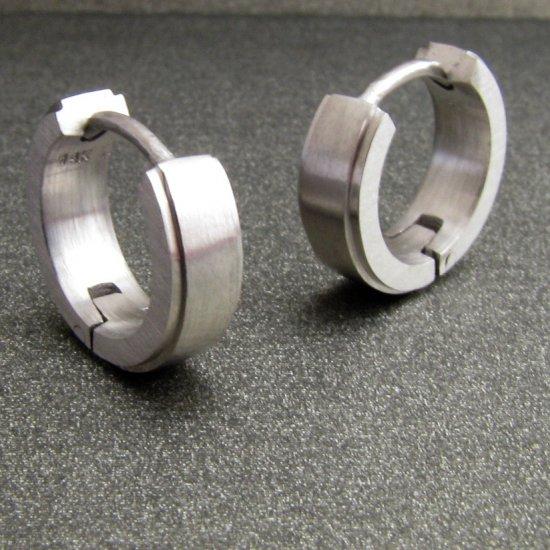 Men's solid 14K white gold hoop earrings, ECE001MW