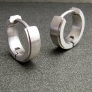 Men's solid 14K white gold hoop earrings, ECE001MW