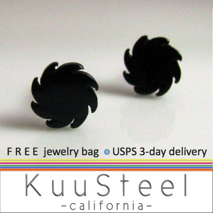 Mens Earrings Black Stud - Earrings For Guys�Circular Blade (#417)
