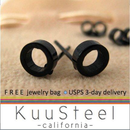 Black Stud Earrings for Men-Looks Like Plug Earrings-Stainless Steel - Round Hole (#414)