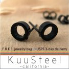 Black Stud Earrings for Men-Looks Like Plug Earrings-Stainless Steel - Round Hole (#414)