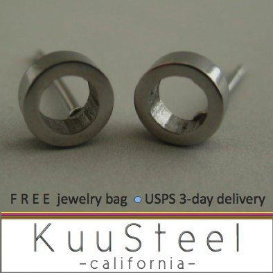 Silver Stud Earrings for Men-Looks Like Plug Earrings-Stainless Steel - Round Hole (#413)
