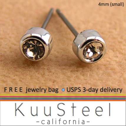 Mens Earrings Rhinestone Diamond Stud 4mm- Silver Guys Earrings Hip Hop Style (#431)