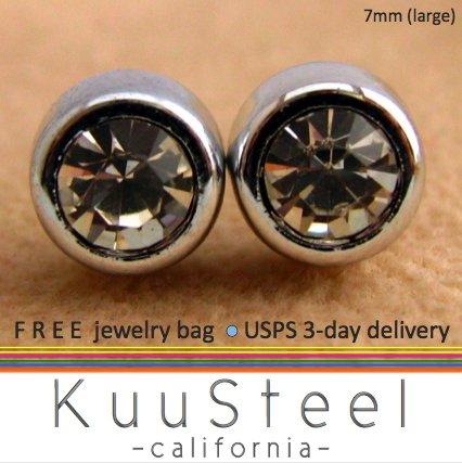 Mens Earrings Diamond CZ Stud 7mm- Silver Guys Earrings Hip Hop Style (#435)