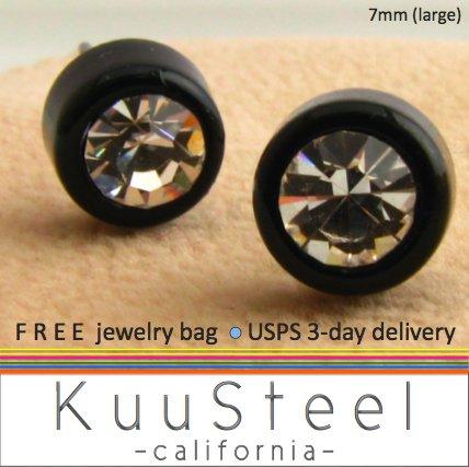 Mens Earrings Rhinestone Diamond Stud 7mm- Silver Guys Earrings Hip Hop Style (#436)