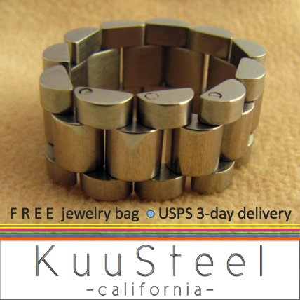 Silver Mens Ring - Watch Band - Stainless Steel Plain Wedding Band (#396A)