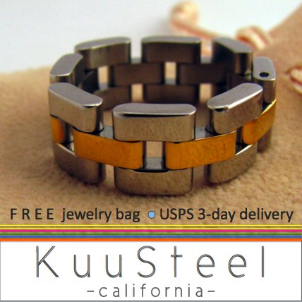 Mens Ring - Watch Band - Two Tone Stainless Steel Plain Wedding Band (#396B)