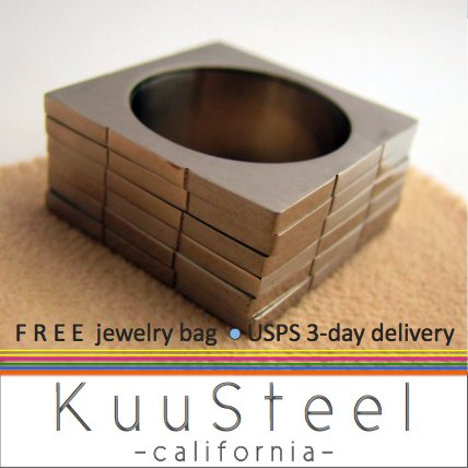 Silver Mens Ring - Stack of Squares - Stainless Steel Plain Wedding Band (#398A)