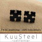 Mens Earrings Black Studs - Earrings for Guys - Geometric Vector (#438)