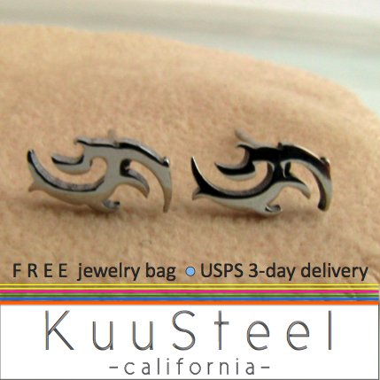 Mens Earrings Silver Studs - Earrings for Guys - Tattoo Vector (#512)