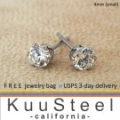 Mens Diamond Earrings 4mm- Steel Stud Earrings for Men- White CZ Diamond (#513)