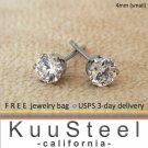 Mens Diamond Earrings 4mm- Steel Stud Earrings for Men- White CZ Diamond (#513)