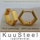 Gold hexagon hoop earrings, men's hoop earrings, medium E250MY
